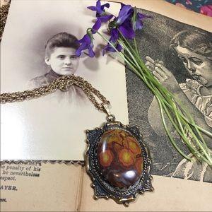 Red Spotted Jasper Vintage Pendant Necklace